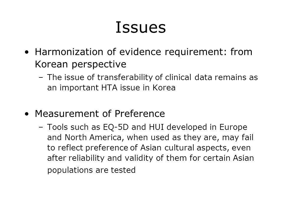 Issues Harmonization of evidence requirement: from Korean perspective