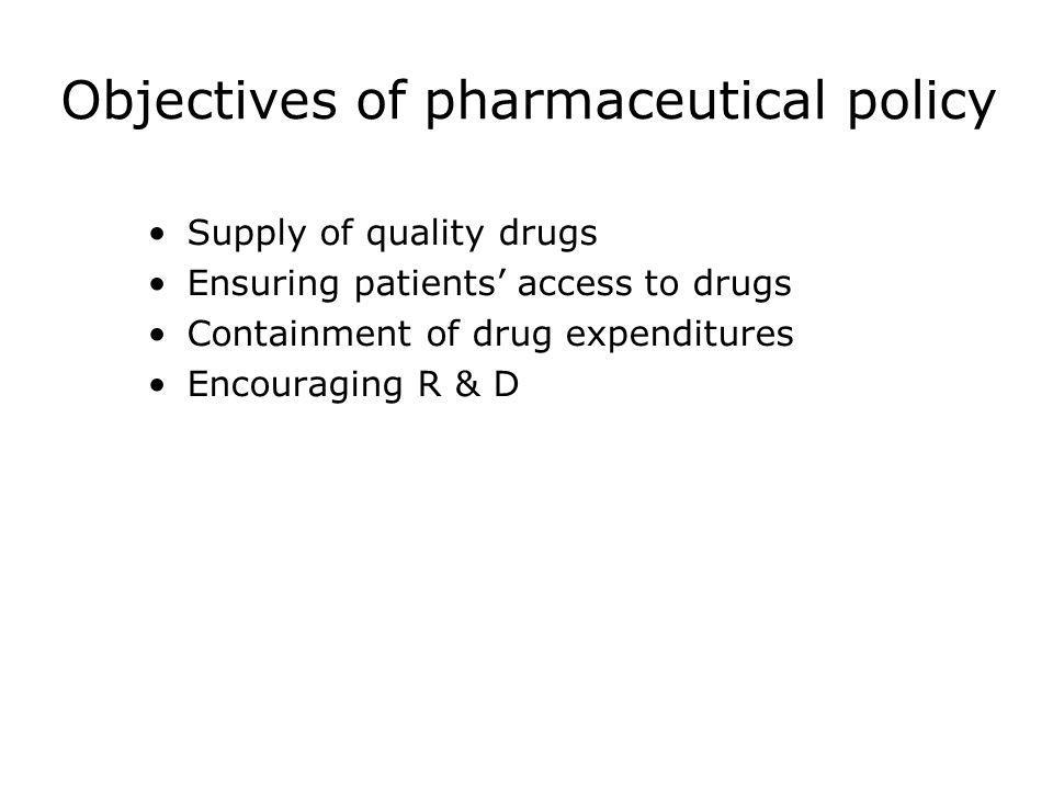 Objectives of pharmaceutical policy
