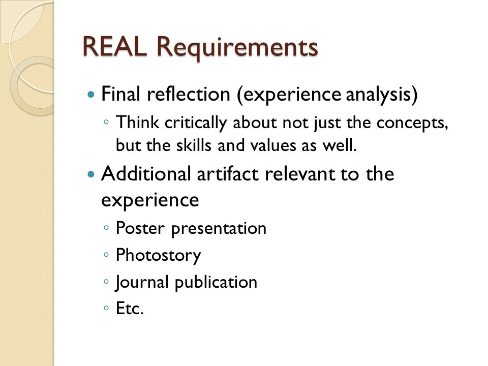 REAL Requirements Final reflection (experience analysis)