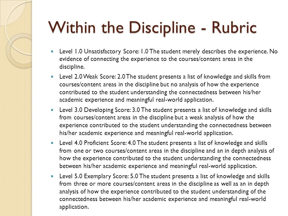 Within the Discipline - Rubric