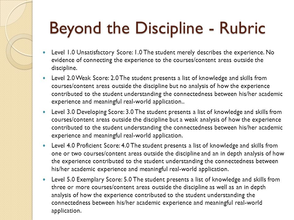 Beyond the Discipline - Rubric