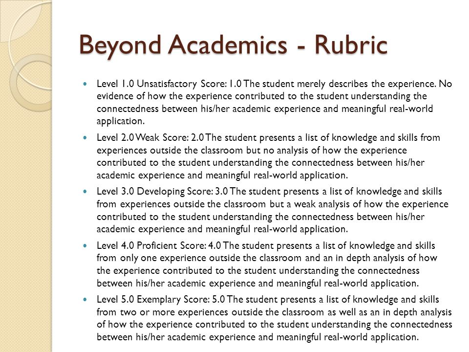 Beyond Academics - Rubric