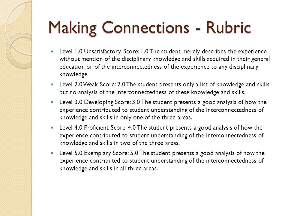 Making Connections - Rubric