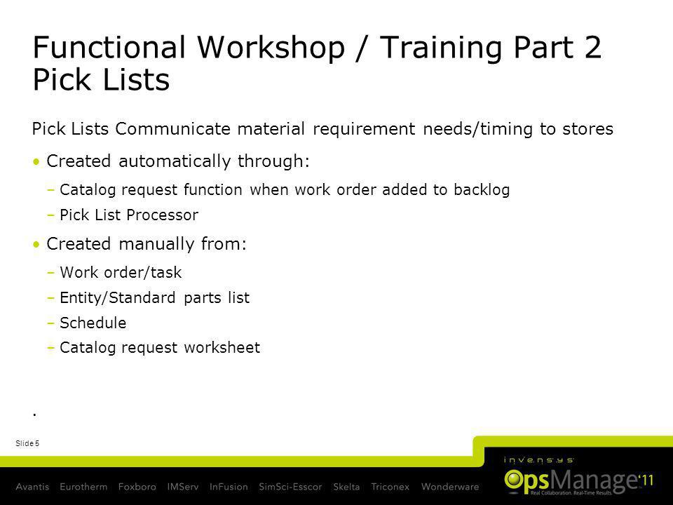 Functional Workshop / Training Part 2 Pick Lists