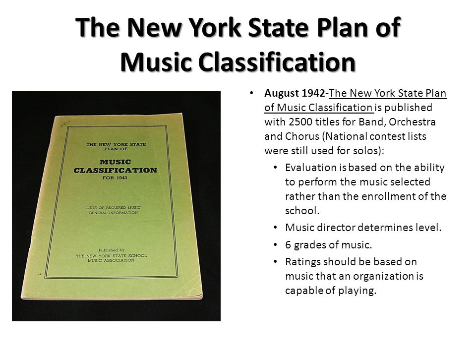 The New York State Plan of Music Classification