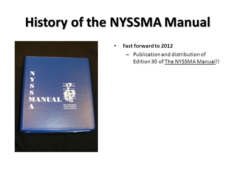 History of the NYSSMA Manual