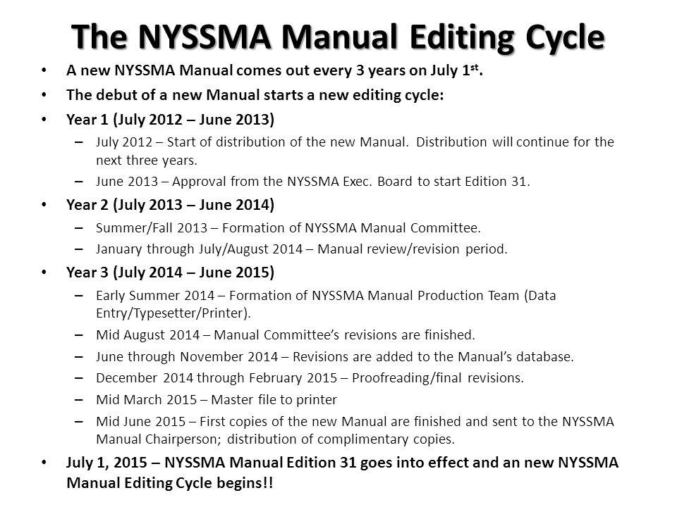 The NYSSMA Manual Editing Cycle