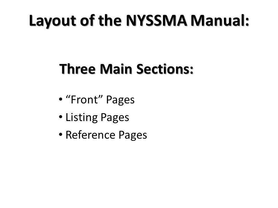 Layout of the NYSSMA Manual: