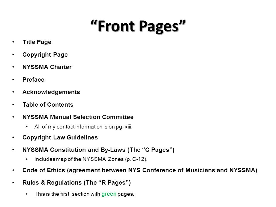 Front Pages Title Page Copyright Page NYSSMA Charter Preface