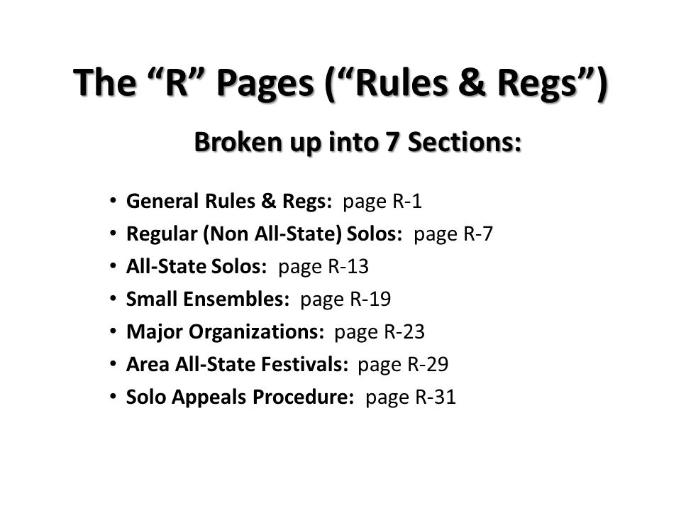 The R Pages ( Rules & Regs )