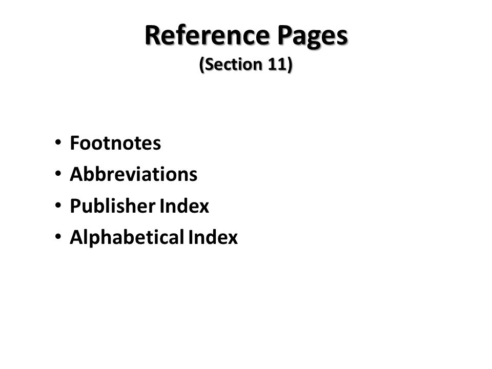 Reference Pages (Section 11)
