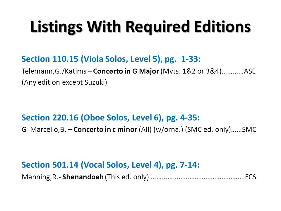 Listings With Required Editions