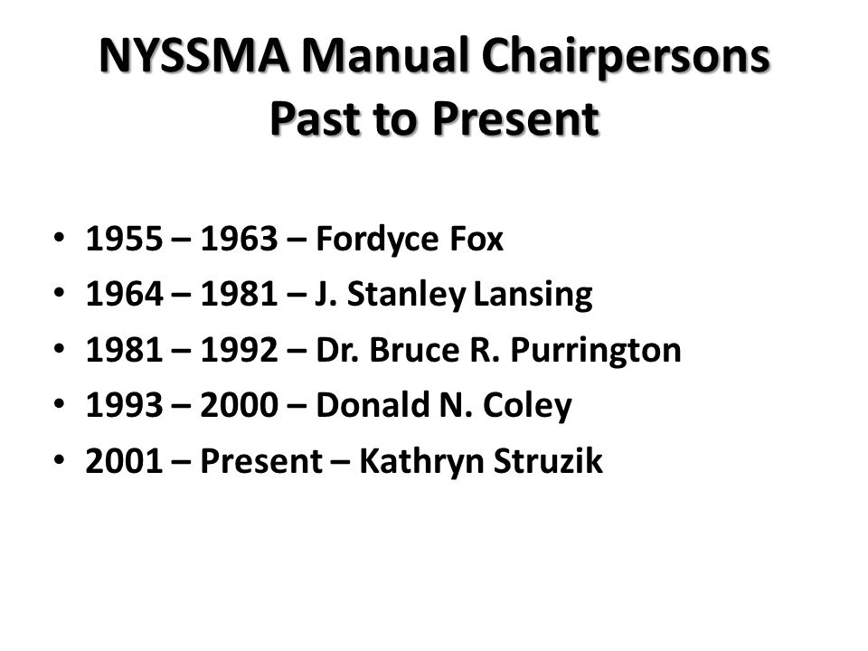 NYSSMA Manual Chairpersons Past to Present