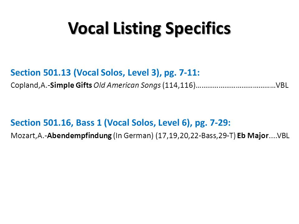 Vocal Listing Specifics