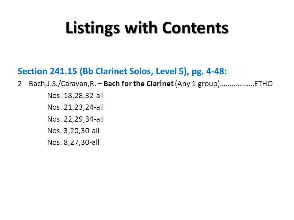 Listings with Contents