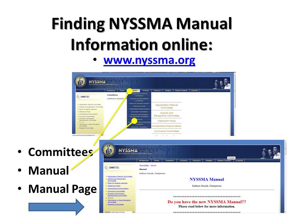 Finding NYSSMA Manual Information online: