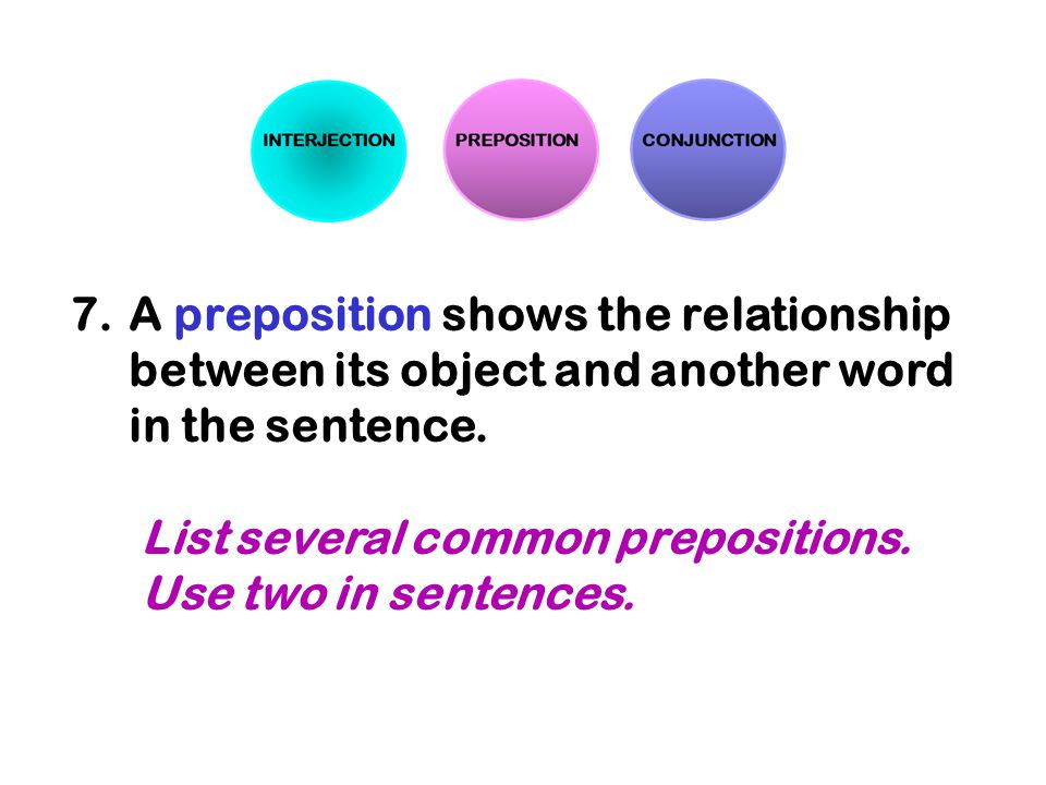 A preposition shows the relationship between its object and another word in the sentence.