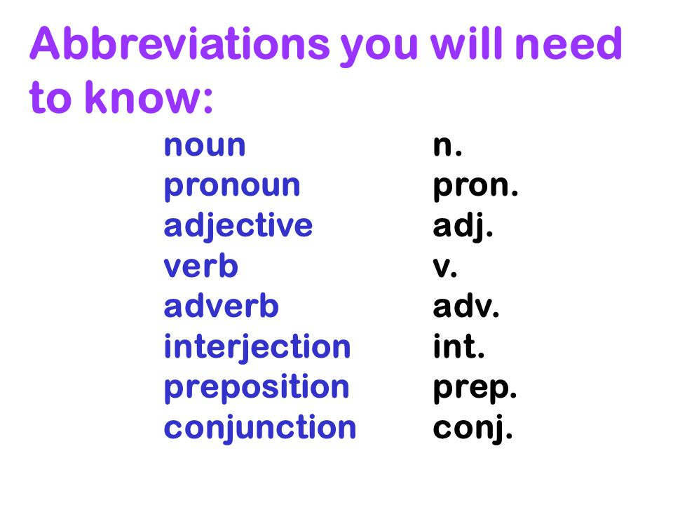 Abbreviations you will need to know: