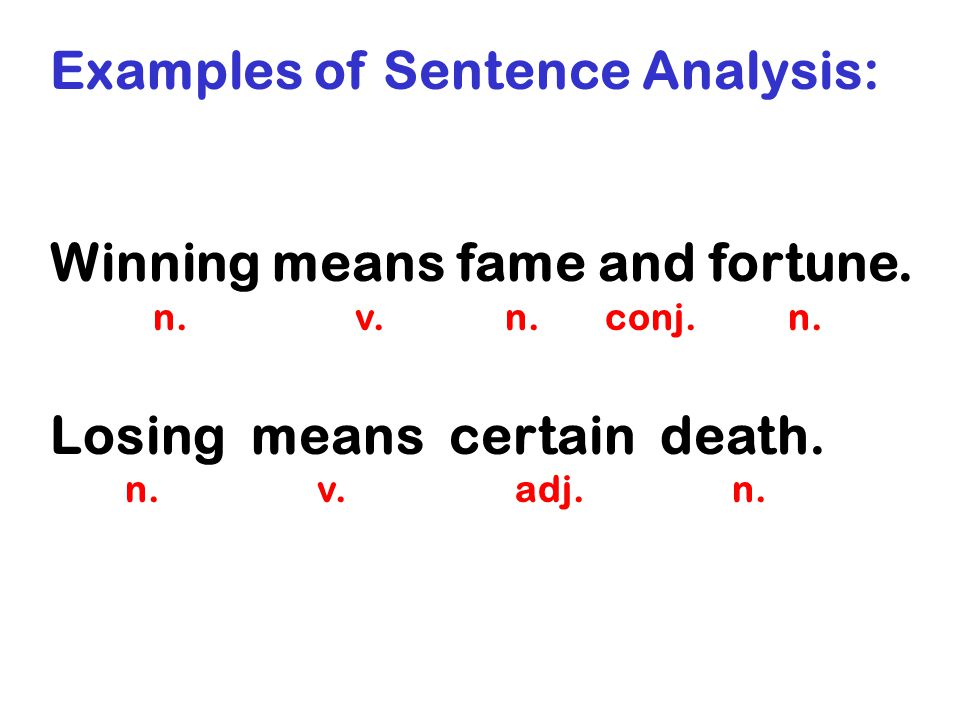Examples of Sentence Analysis:
