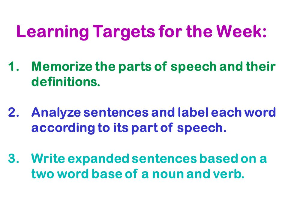 Learning Targets for the Week: