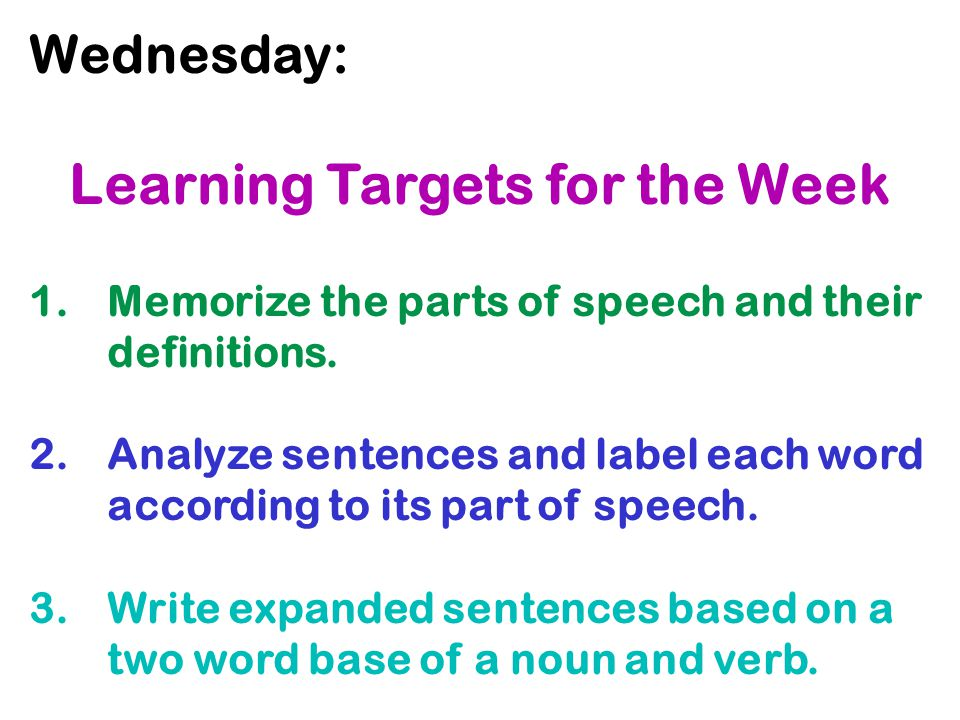 Learning Targets for the Week