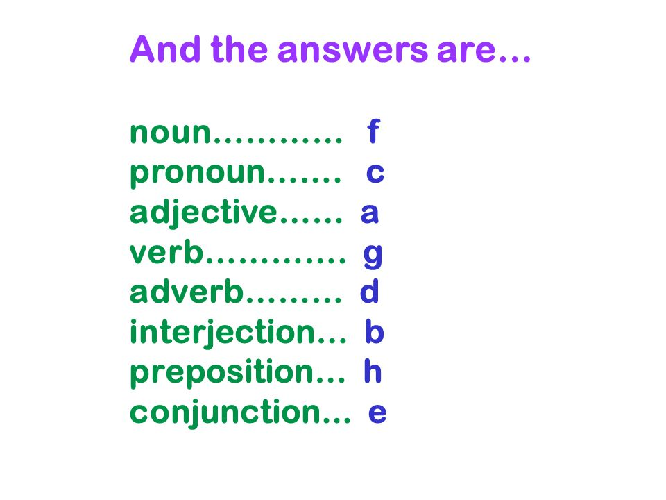 And the answers are… noun………… f pronoun……. c adjective…… a verb…………. g