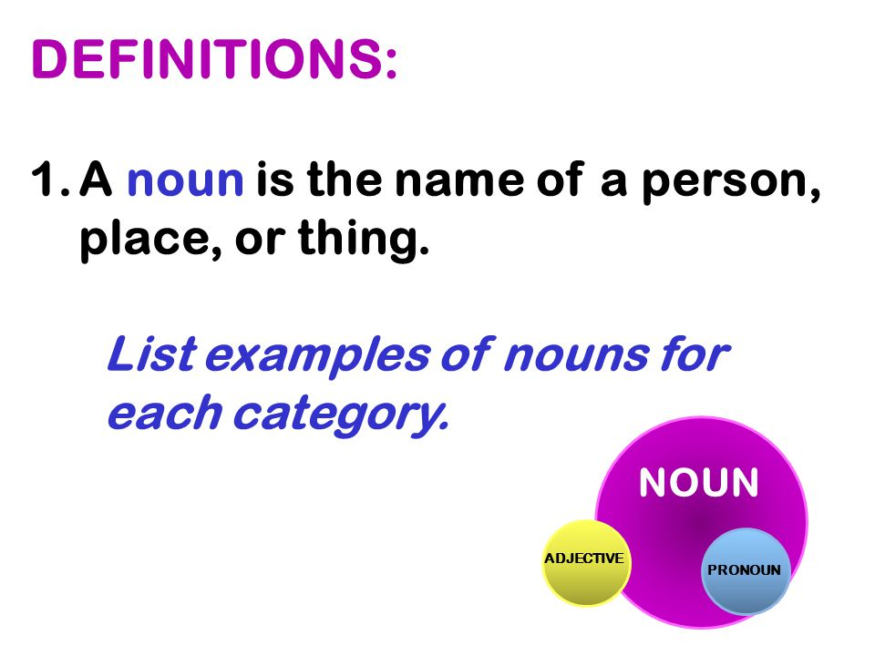 DEFINITIONS: A noun is the name of a person, place, or thing.