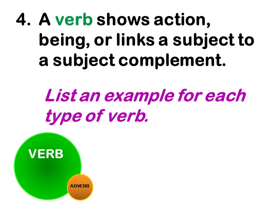 A verb shows action, being, or links a subject to a subject complement.