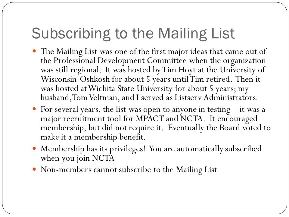 Subscribing to the Mailing List