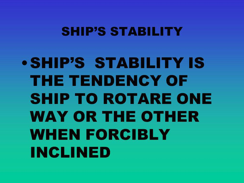 SHIP'S STABILITY SHIP'S STABILITY IS THE TENDENCY OF SHIP TO ROTARE ONE WAY OR THE OTHER WHEN FORCIBLY INCLINED.