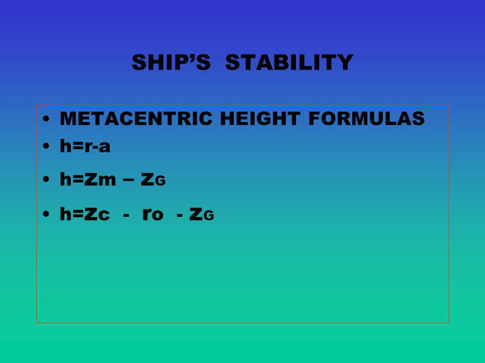 SHIP'S STABILITY METACENTRIC HEIGHT FORMULAS h=r-a h=zm – zG