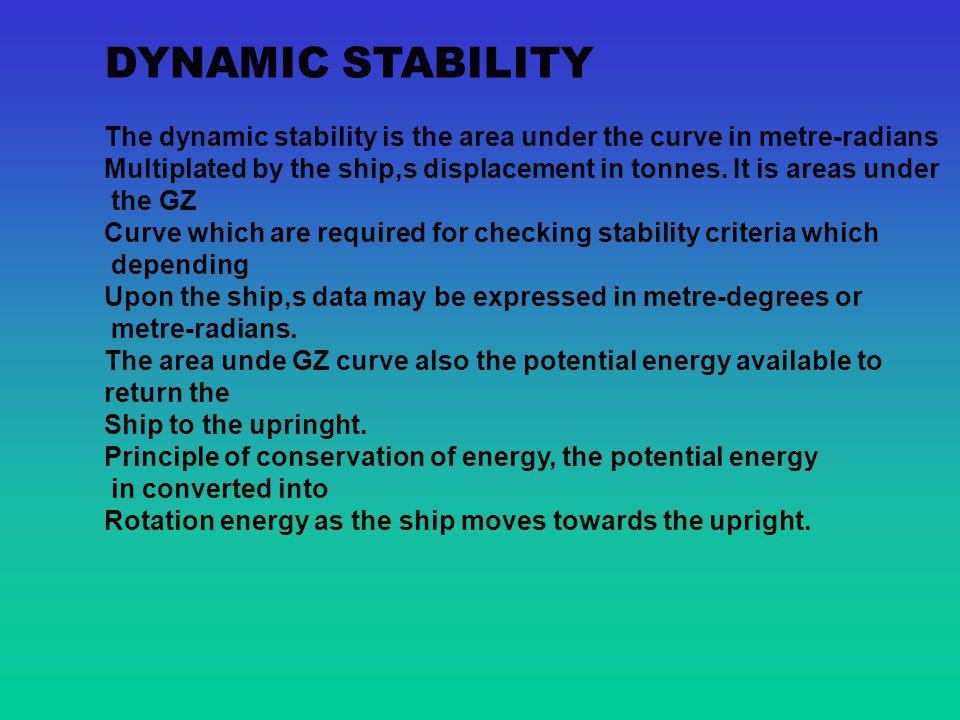 DYNAMIC STABILITY The dynamic stability is the area under the curve in metre-radians.
