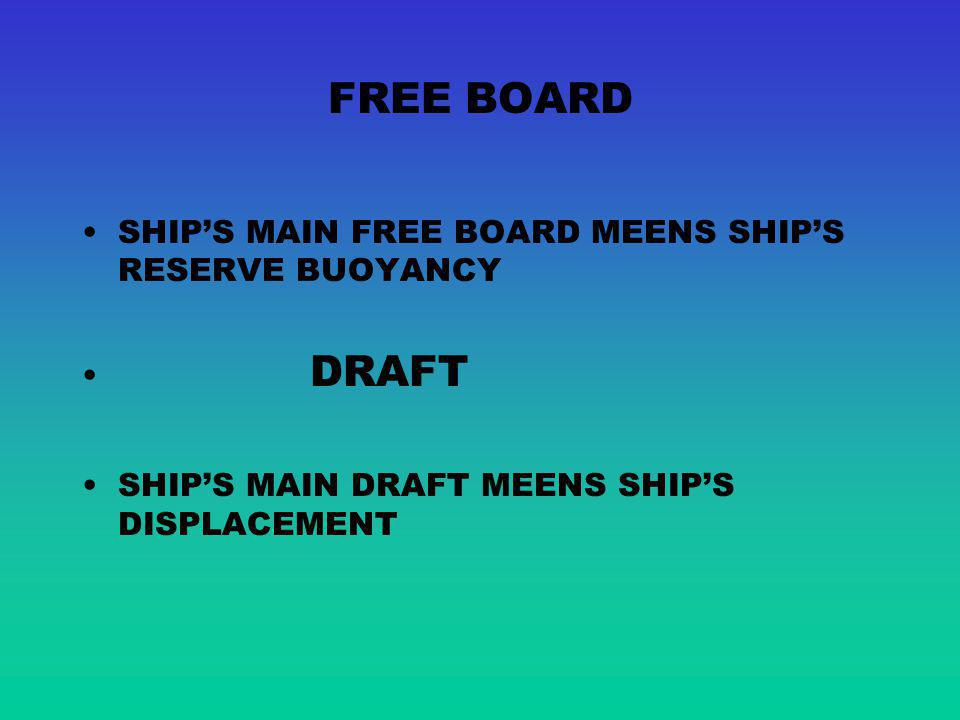 FREE BOARD SHIP'S MAIN FREE BOARD MEENS SHIP'S RESERVE BUOYANCY DRAFT