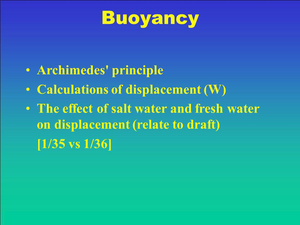 Buoyancy Archimedes principle Calculations of displacement (W)