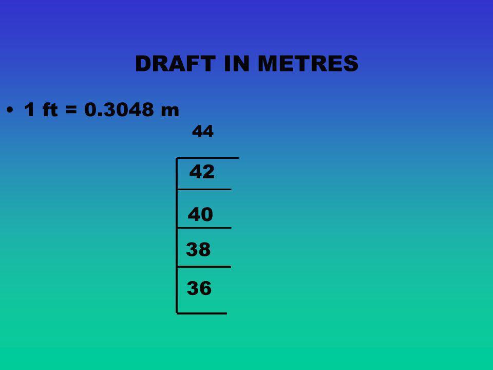 DRAFT IN METRES 1 ft = 0.3048 m 44 42 40 38 36