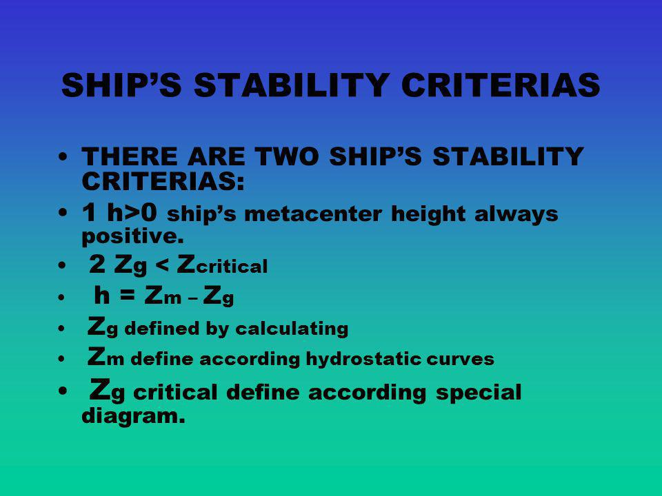 SHIP'S STABILITY CRITERIAS