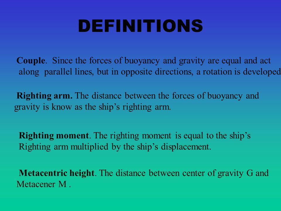 DEFINITIONS Couple. Since the forces of buoyancy and gravity are equal and act.