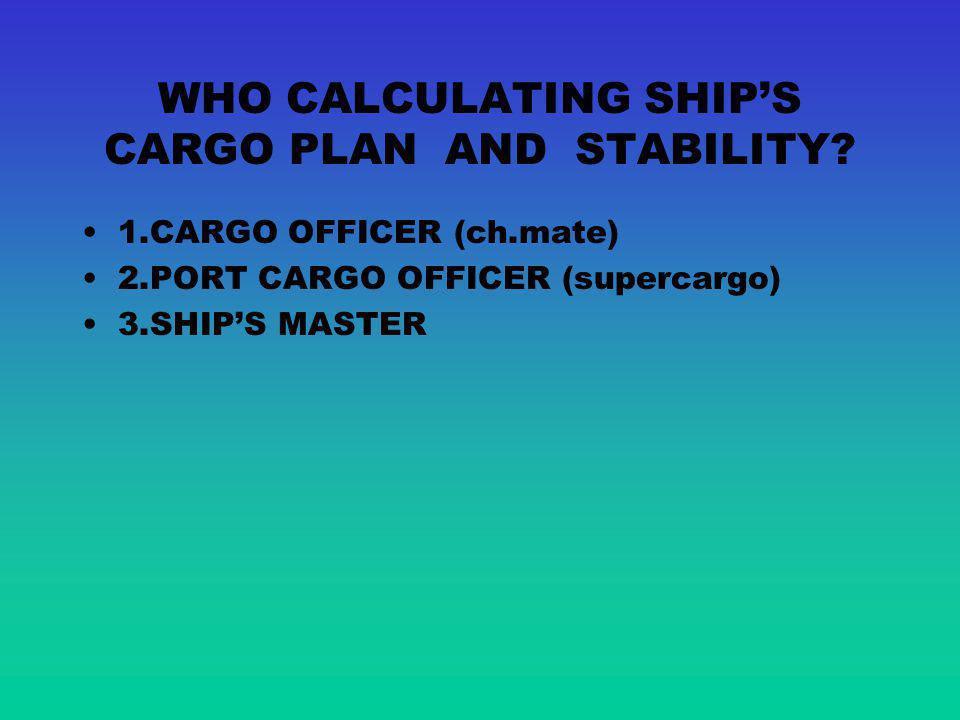 WHO CALCULATING SHIP'S CARGO PLAN AND STABILITY