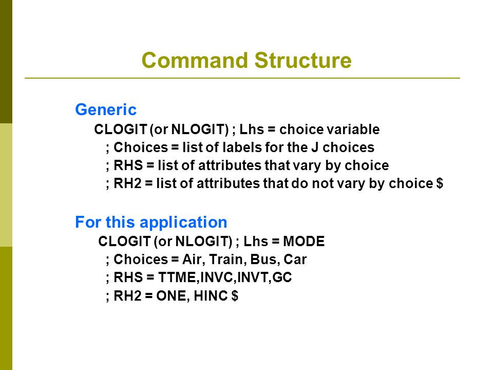 Command Structure Generic For this application