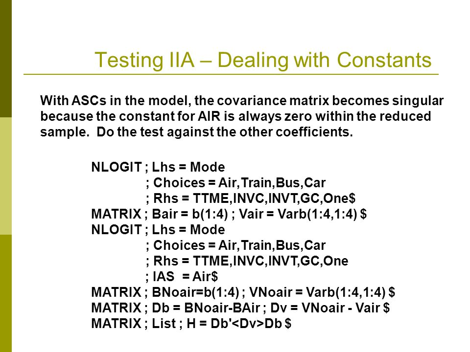 Testing IIA – Dealing with Constants