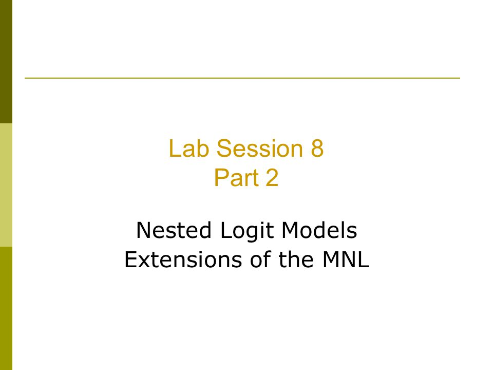 Nested Logit Models Extensions of the MNL