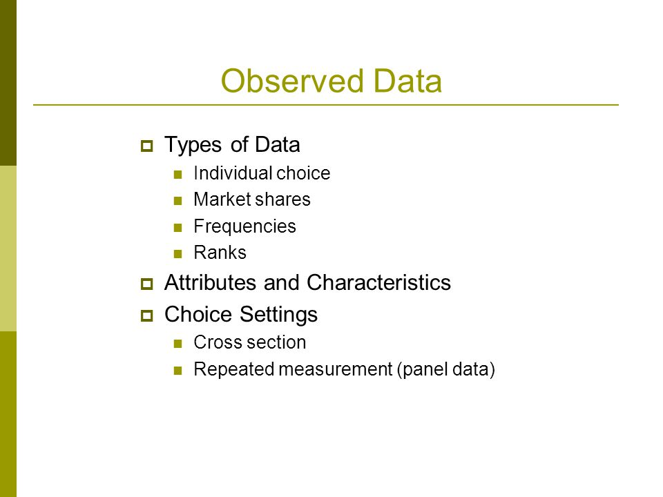 Observed Data Types of Data Attributes and Characteristics