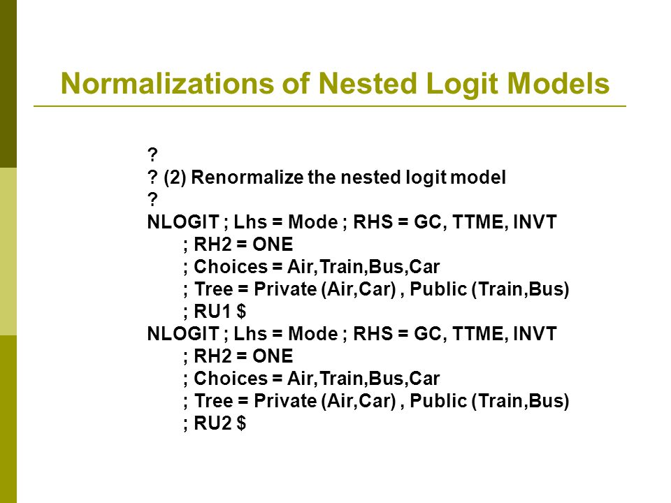 Normalizations of Nested Logit Models