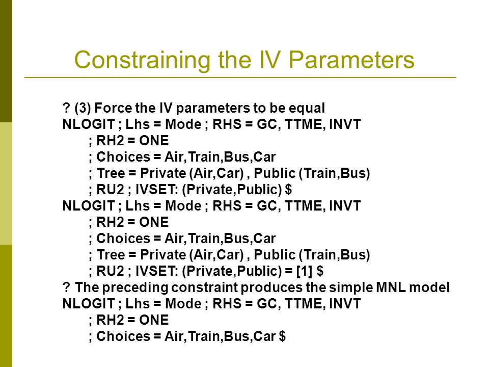 Constraining the IV Parameters