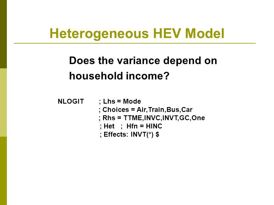 Heterogeneous HEV Model
