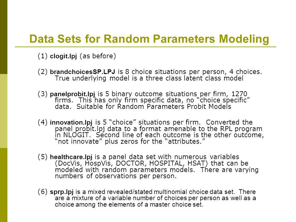 Data Sets for Random Parameters Modeling