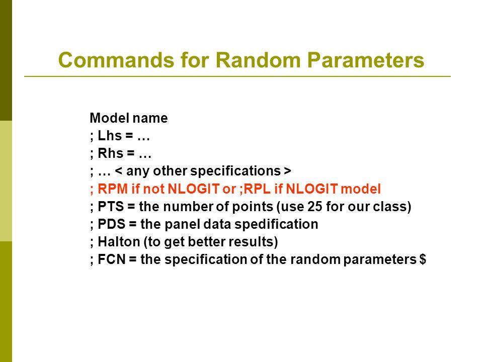 Commands for Random Parameters