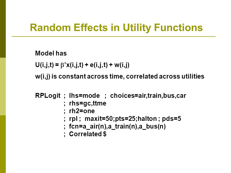 Random Effects in Utility Functions