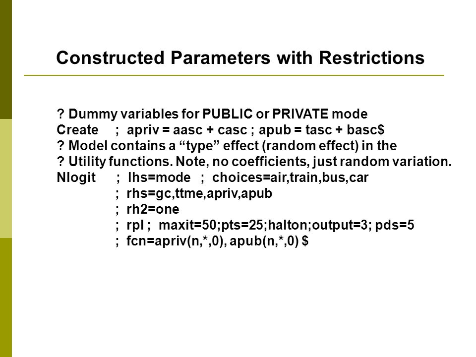 Constructed Parameters with Restrictions