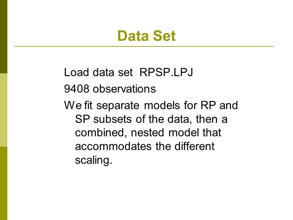 Data Set Load data set RPSP.LPJ 9408 observations